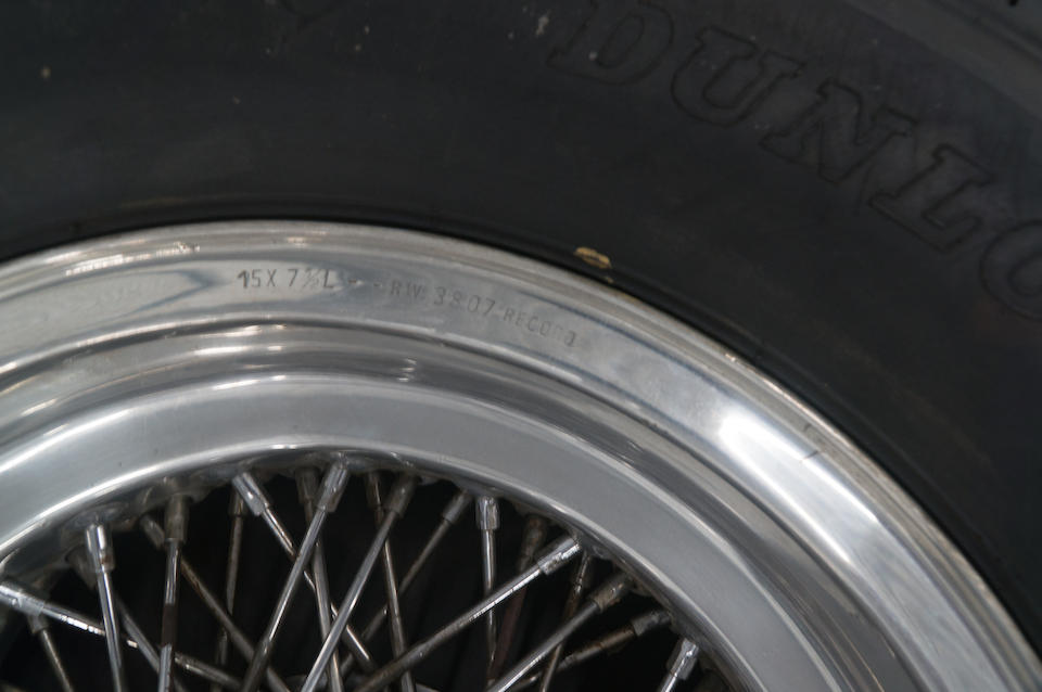 A set of four Borrani competition wire wheels, (two front, two rear), for Ferrari 250P, mounted with Dunlop tires and polished