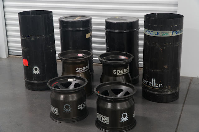 Four Benetton 188 Type B Formula One Wheels manufactured by Speedline – front and rear, in original packing/transport canisters