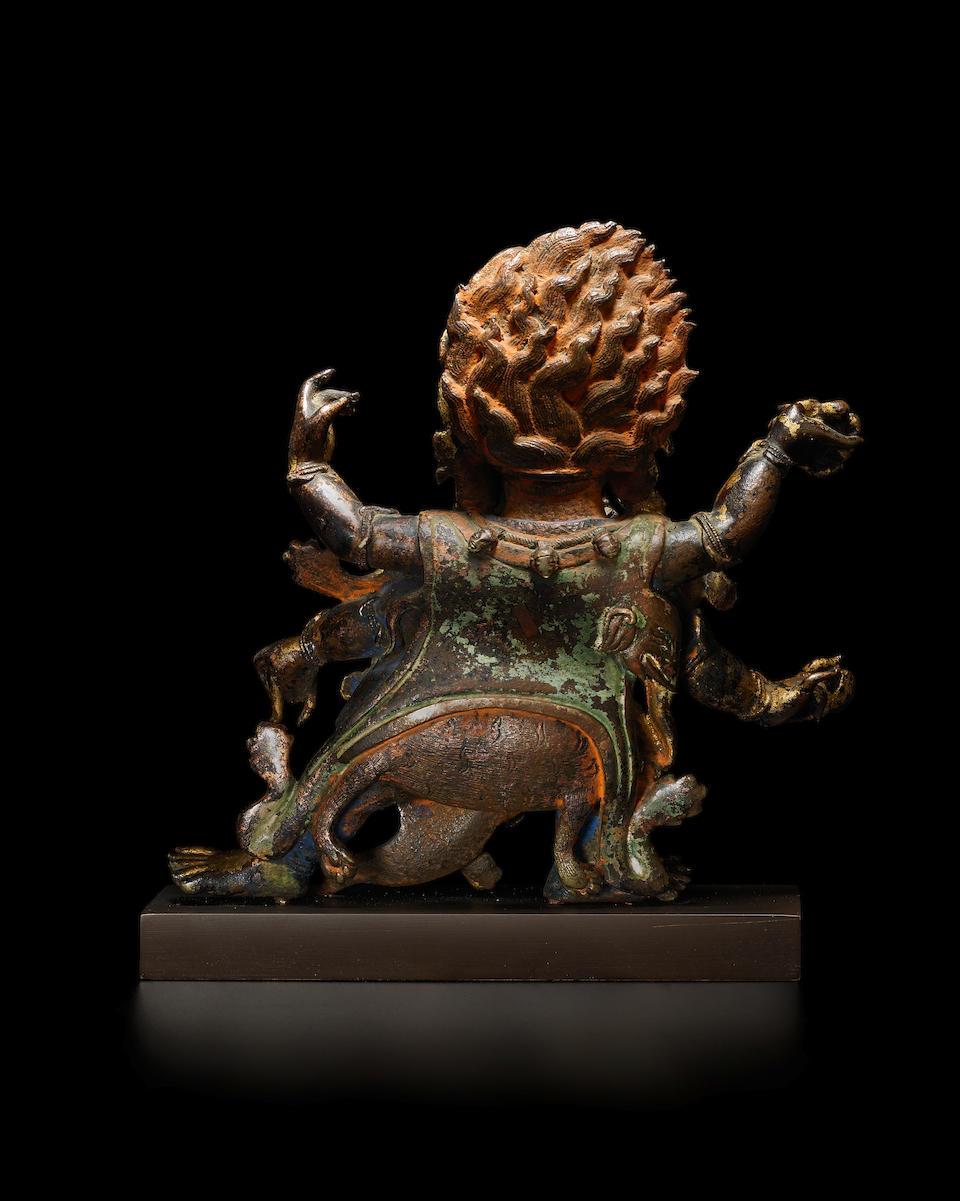 A GILT LACQUERED COPPER ALLOY FIGURE OF SHADBUJA MAHAKALA MONGOLIA, 18TH CENTURY