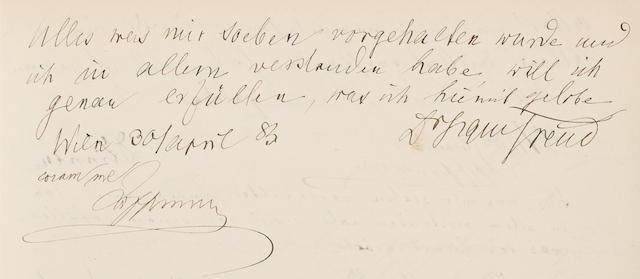 "FREUD, SIGMUND. 1856-1939. Autograph Manuscript Signed (""Dr. Sigm. Freud""), Folio (352 x 215 mm), 30 April, 1883,"