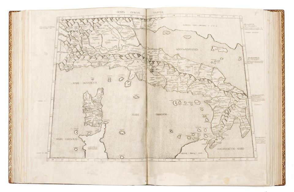 PTOLEMAEUS, Claudius. c.100-c.170. Cosmographia.  Translated by Jacobus Angelus. Edited by Domitius Calderinus. Rome: [Conradus Sweynheym, succeeded by] Arnold Bucking, 10 October 1478.