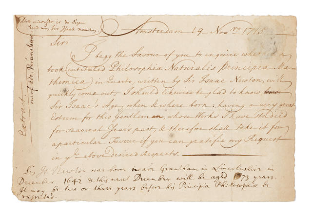 """NEWTON, ISAAC. 1642-1727, and ADRIAEN VERWER. c.1655-1717. Autograph Note Signed Integrally (""""Sir Isaac Newton""""), 1 p, 8vo (126 x 193 mm), [after] November 19, 1715,"""