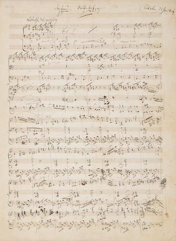 WAGNER, RICHARD. 1813-1883. Autograph Musical Manuscript, being the Prelude to Act III of Siegfried, with the first several bars of music, titled Siegfried Dritter Aufzug (Tribschen. 22 Juni 1869),