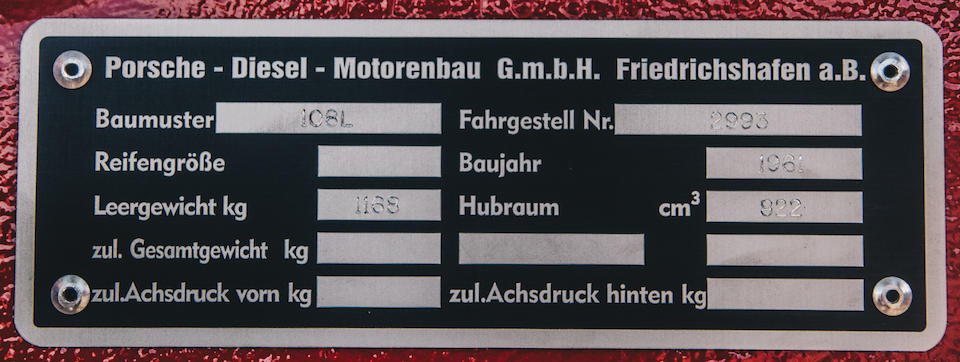 <b>1961 Porsche Junior 108 Tractor</b><br />Chassis no. 2993