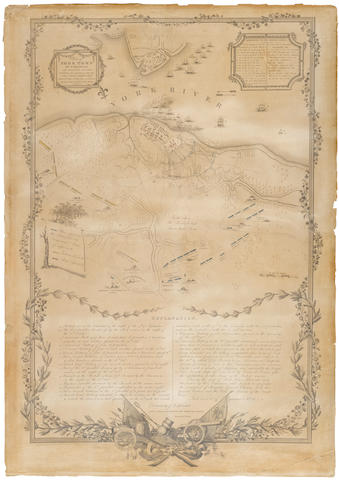 REVOLUTIONARY WAR. Bauman, Sebastian, after. Plan of York Town in Virginia and Adjacent Country, Exhibiting the Operations of the American French & English armies, during the siege of that place in Oct. 1781. Surveyed from the 22nd to the 28th Octr. [Philadelphia, 1825].