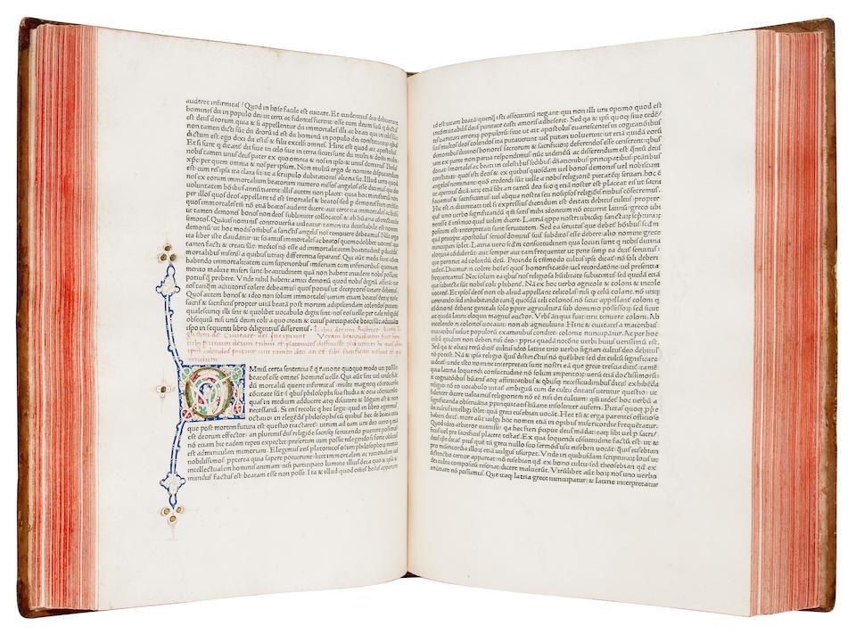 AUGUSTINUS, AURELIUS, SAINT. 354-430.  De Civitate Dei.  Rome: Conradus Sweynheym and Arnoldus Pannartz in the house of Petrus de Maximo, 1468.