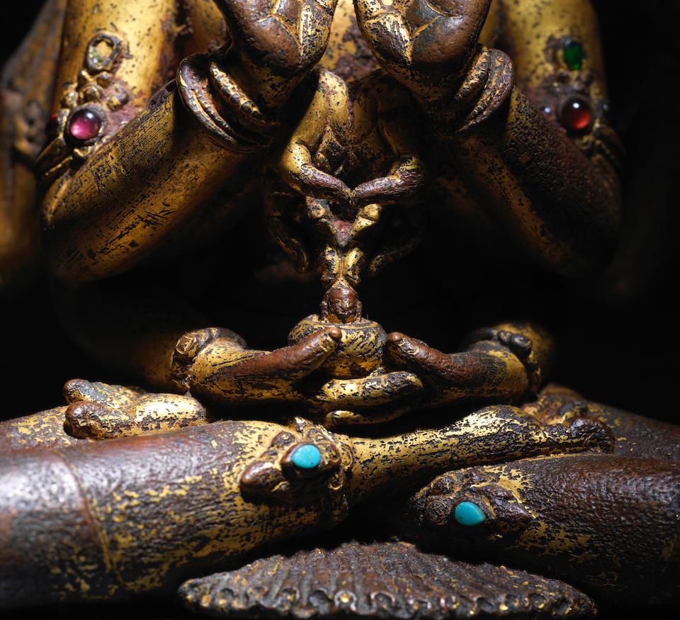 A GILT COPPER FIGURE OF MANJUSHRI NAMASANGITI NEPAL, 13TH/14TH CENTURY