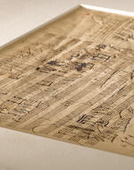 "BEETHOVEN, LUDWIG VAN. 1770-1827. Autograph Musical Manuscript, sketch-leaf part of the score of the Scottish Songs, ""Sunset"" Op. 108 no 2,  2 pp,"