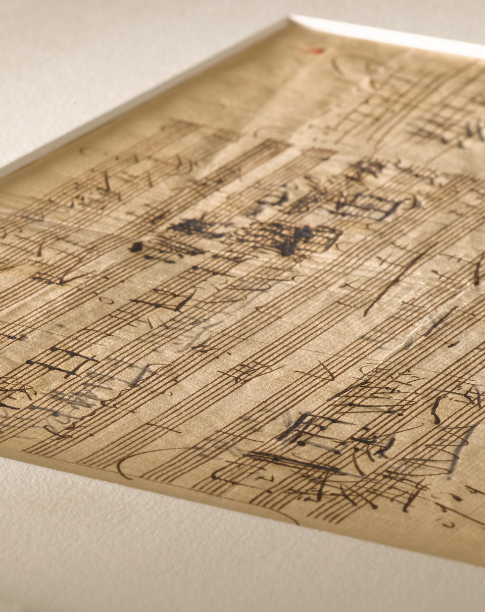 """BEETHOVEN, LUDWIG VAN. 1770-1827. Autograph Musical Manuscript, sketch-leaf part of the score of the Scottish Songs, """"Sunset"""" Op. 108 no 2,  2 pp,"""