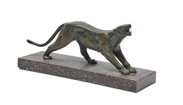 An Art Deco patinated bronze panthercirca 1925
