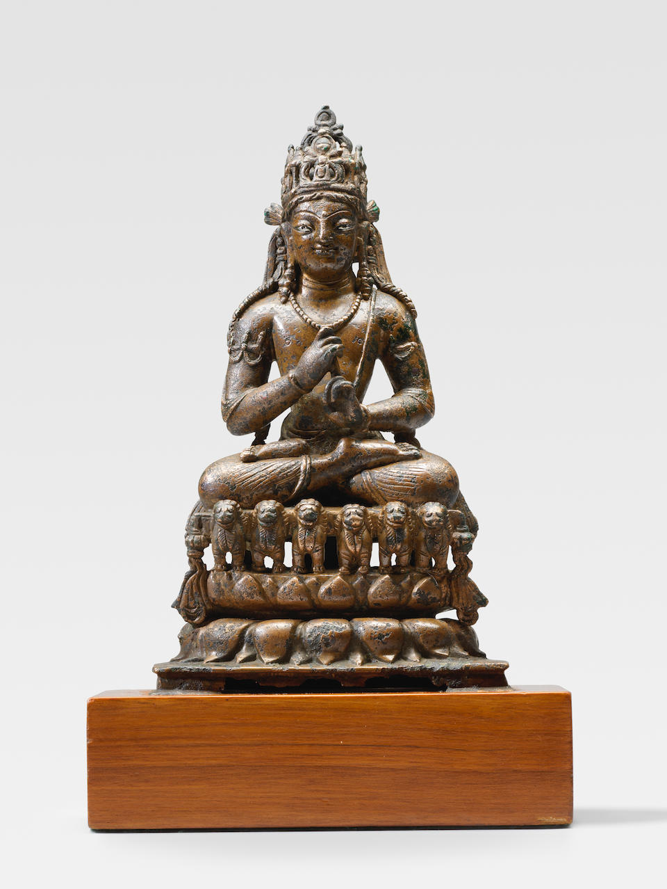 A SILVER INLAID COPPER ALLOY FIGURE OF VAIROCANA SWAT VALLEY, 8TH/9TH CENTURY
