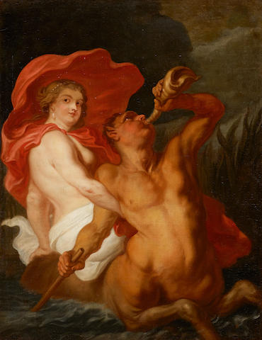 Circle of Sir Peter Paul Rubens (Flemish, 1577-1640) A study of a Nymph and Triton 54 x 42in (137 x 107cm)