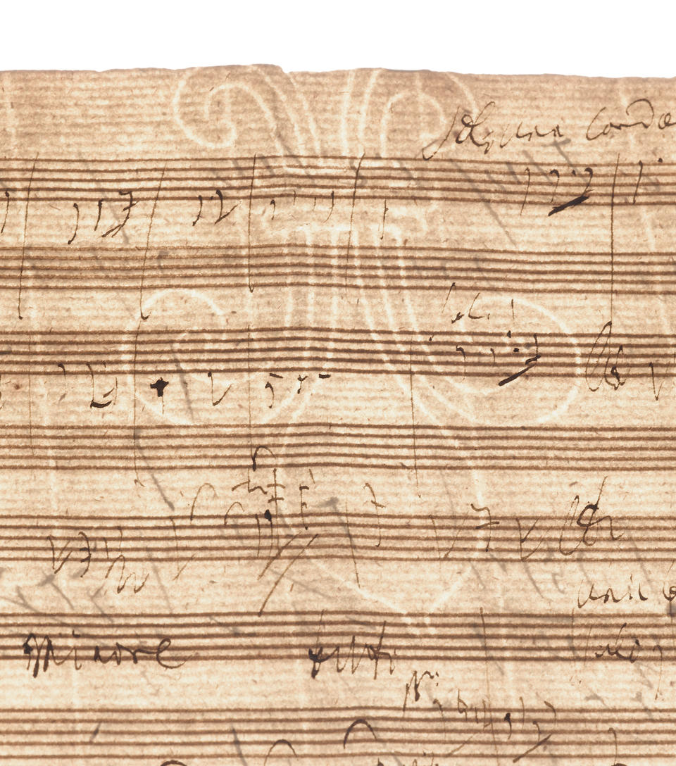 BEETHOVEN, LUDWIG VAN. 1770-1827. Autograph Musical Manuscript, 2 pp, oblong 4to (233 x 307 mm), [Vienna, early 1809,] ruled with 14-staves per page,