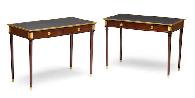 A PAIR OF LOUIS XVI STYLE BRASS MOUNTED MAHOGANY CONSOLE TABLESJANSEN1940s Each stamped JANSEN INDUSTRIA ARGENTINA. height 28 1/4in (71cm); width 39in (99cm); depth 19in (49cm)