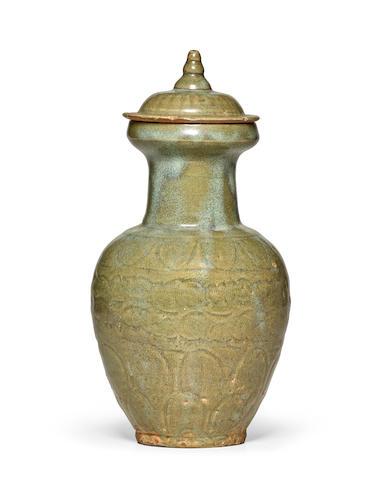 Bonhams A Longquan Celadon Glazed Petal Vase And A Cover Ming