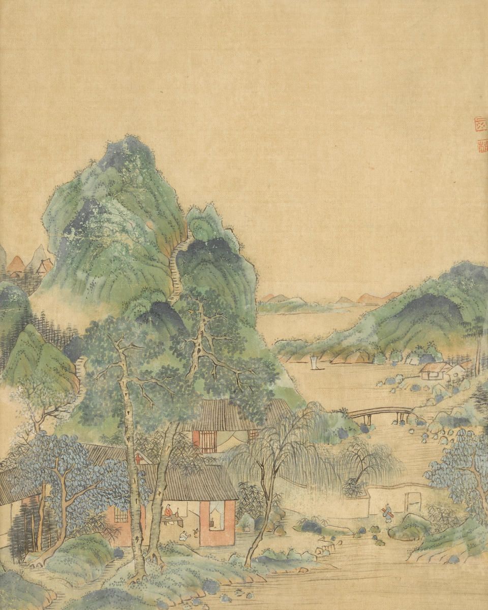 Attributed to Gu Luo (19th/20th century) Three paintings of Blue and Green Landscape