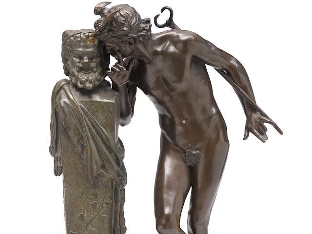A French patinated bronze figural group: Secret d'en Haut after a model by Hippolyte Alexandre Julien Moulin (French, 1832-1884) late 19th century