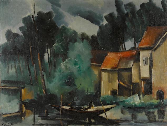 Maurice de Vlaminck (1876-1958) La pêche au chevesne 35 x 46 1/2 in (89 x 118 cm)  (Painted in 1916)
