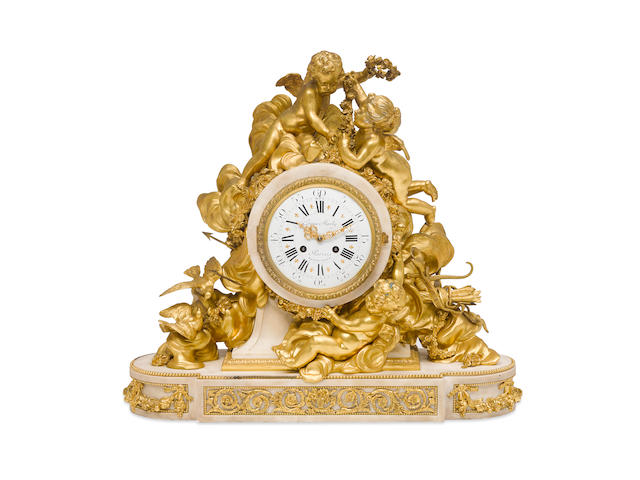 A French gilt bronze and marble figural mantel clock Graux Marly, Paris, second half 19th century