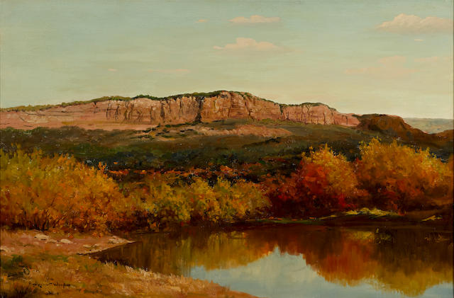 Robert William Wood (1889-1979) Oak Creek, Autumn Color, Near Sedona 24 x 36in (61 x 91.4cm) (Painted circa 1960)