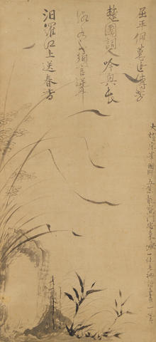IKKYU SOJUN 一休宗純 (1394-1481) Wild Orchids, Rock, and Bamboo, with CalligraphyMuromachi period (1333-1573), 15th century