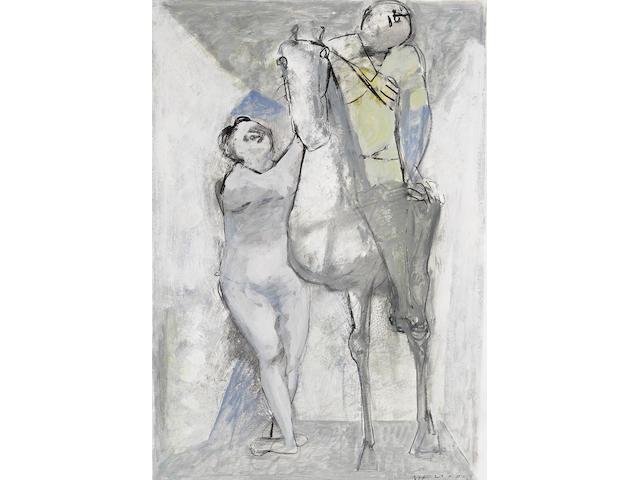 Marino Marini (1901-1980) Acrobati e cavallo 33 x 23 3/8 in (83.8 x 59.3 cm)