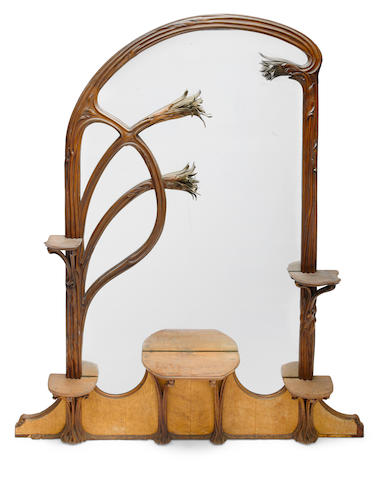 An Art Nouveau mahogany, bird's eye maple and metal illuminated overmantel mirror circa 1900