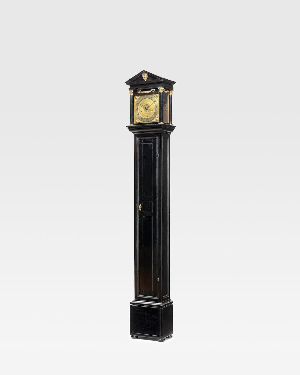 A rare architectural period ebony veneered longcase clock with verge pendulum escapement Joseph Knibb, Oxford. Circa 1665-70