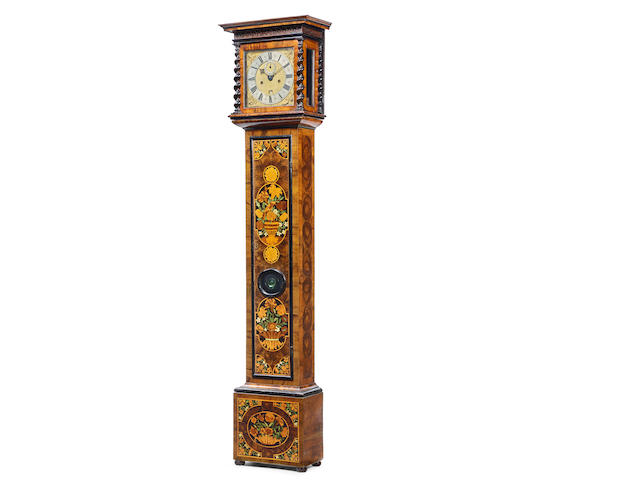 A Small Olivewood Marquetry Longcase Clock   Thomas Tompion, London, pre-numbered, circa 1680, the case attributed to Jasper Braem
