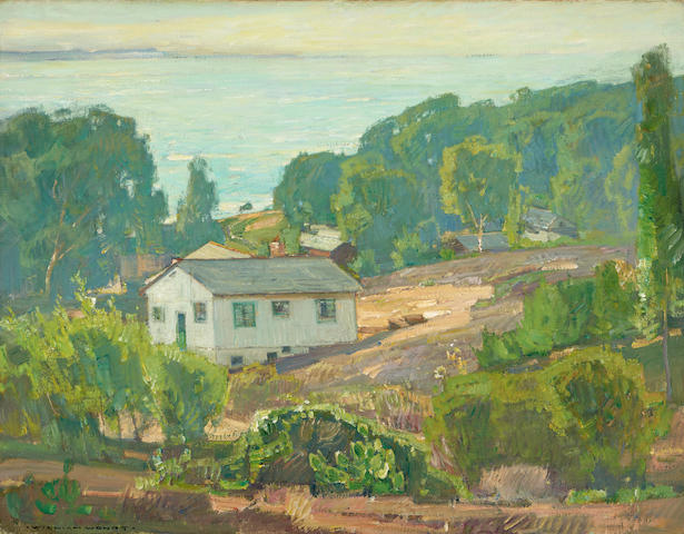 William Wendt (1865-1946) Houses Along the Coast 28 1/8 x 36in overall: 38 1/4 x 46in