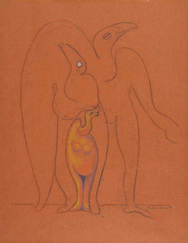 Max Ernst (1891-1976) Le peuple des oiseaux 17 7/8 x 13 7/8 in (45.5 x 35.4 cm) (Executed in 1942)