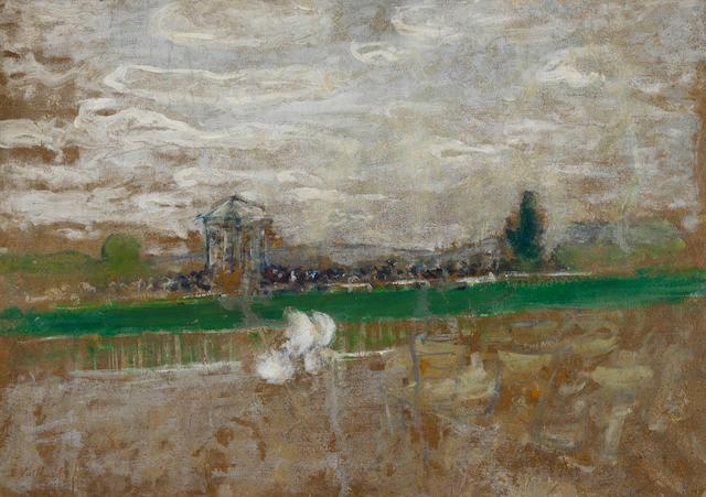 Edouard Vuillard (1868-1940) Champ de Course 12 1/2 x 17 3/4 in (32 x 45 cm) (Painted circa 1899)