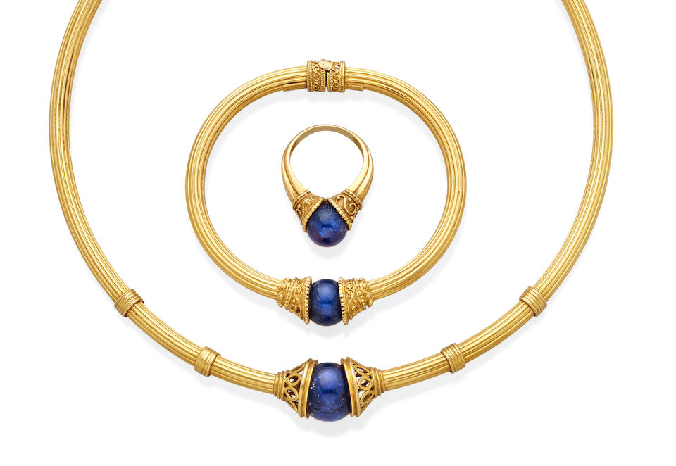 A lapis lazuli and 18k gold suite, Ilias Lalaounis, Greek