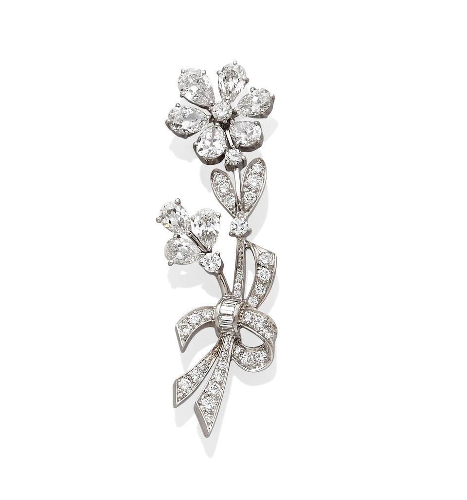A diamond, palladium and 14k gold brooch, Tiffany & Co.