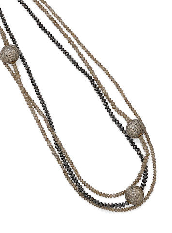 Three colored diamond long necklaces