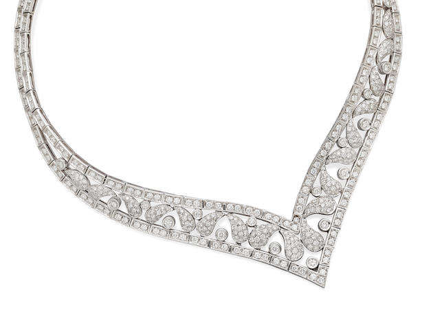 A Diamond and 18k White Gold Collar, Andreoli