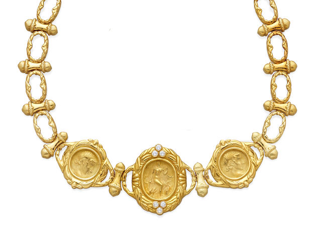 A diamond and 18k gold necklace,  Robilloti