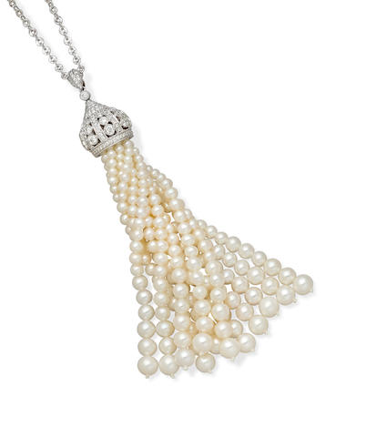 A cultured pearl, diamond and 18k white gold pendant on chain, DSL