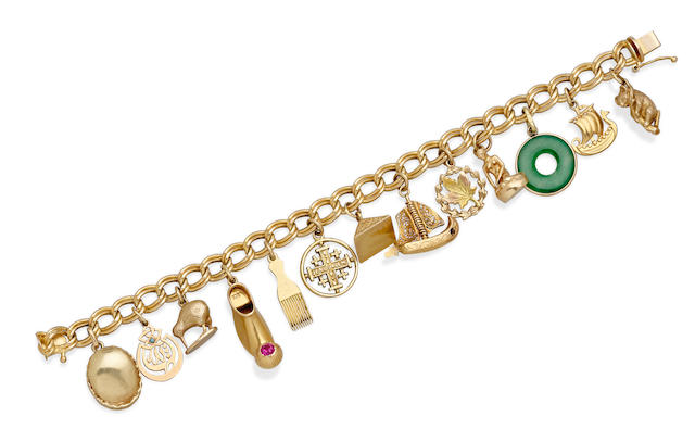 A gem-set Gold Charm Bracelet