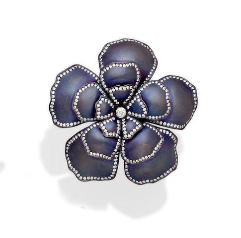 A Purple Titanium, Diamond and 18k White Gold Flower Ring