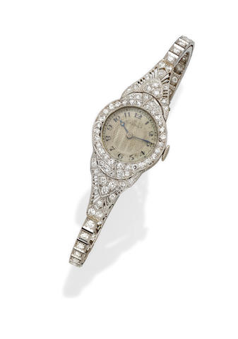 A lady's Art Deco diamond and platinum bracelet wristwatch, Tiffany & Co.,