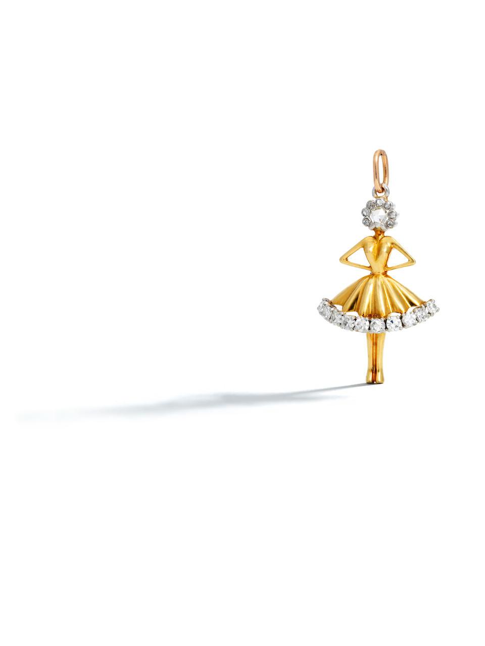 "A platinum, 18k gold and diamond ""Danseuse"" pendant, Van Cleef & Arpels,"