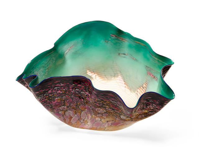 Dale Chihuly (born 1941) Phthalagreen Macchia with Blue Lip Wrap1985blown glassheight 19in (48cm); width 30 1/2in (77.5cm); depth 18in (46cm)