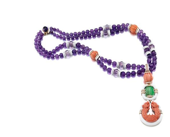 An amethyst, coral, emerald, rock crystal quartz, diamond and enamel pendant necklace, David Webb
