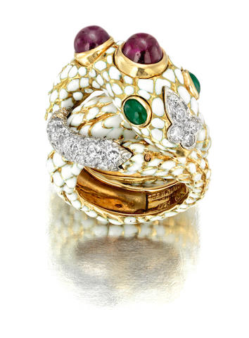 A ruby, emerald, diamond and enamel ring, David Webb
