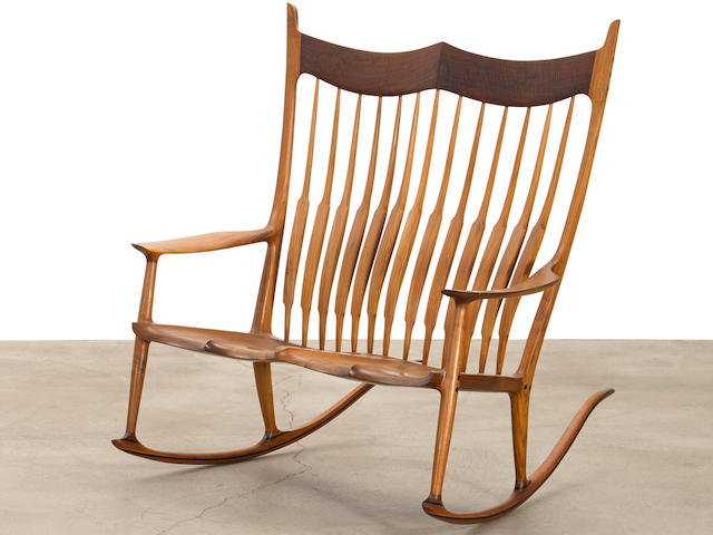 Sam Maloof (1916-2009) Double Rocking Chair2006walnutbranded 'No.13 2006 Sam Maloof d.f.a risd M.J. L.W.'height 47 1/2in (120cm); width 42 1/8in (106cm); depth 45 7/8in (116cm)