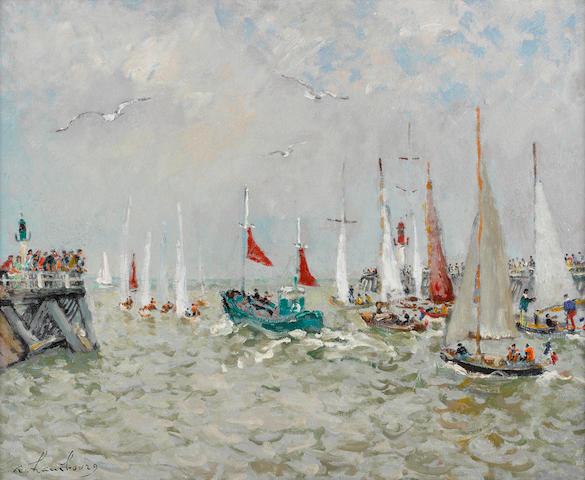 ANDRÉ  HAMBOURG (1909-1999) Le bateau de pêche vert aux voiles rouge 23 1/2 x 28 5/8 in (59.9 x 72.7 cm)