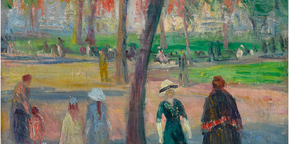 William Glackens (1870-1938) Washington Square – The Green Dress 13 1/8 x 16 1/4in