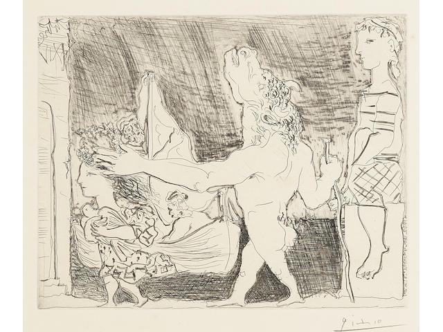 Pablo Picasso (1881-1973); Minotaure aveugle guidé par une Fillette II, from: La Suite Vollard;