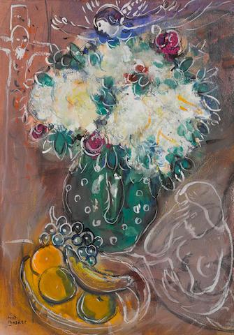 Marc Chagall (1887-1985) Le bouquet au pot vert 19 1/2 x 13 3/4 in (49.7 x 34.8 cm) (Painted in 1951)